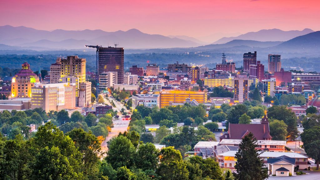 pictured: Asheville at night