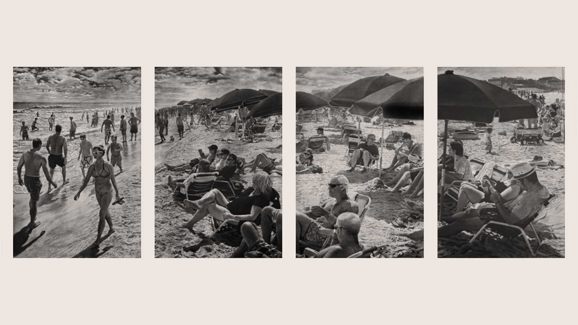 """pictured: 4 panels of """"Tidal Shift,"""" a 6-panel panoramic intaglio image consisting of hand drawn aquatint and white ground imagery. Each panel is 36"""" x 24."""""""