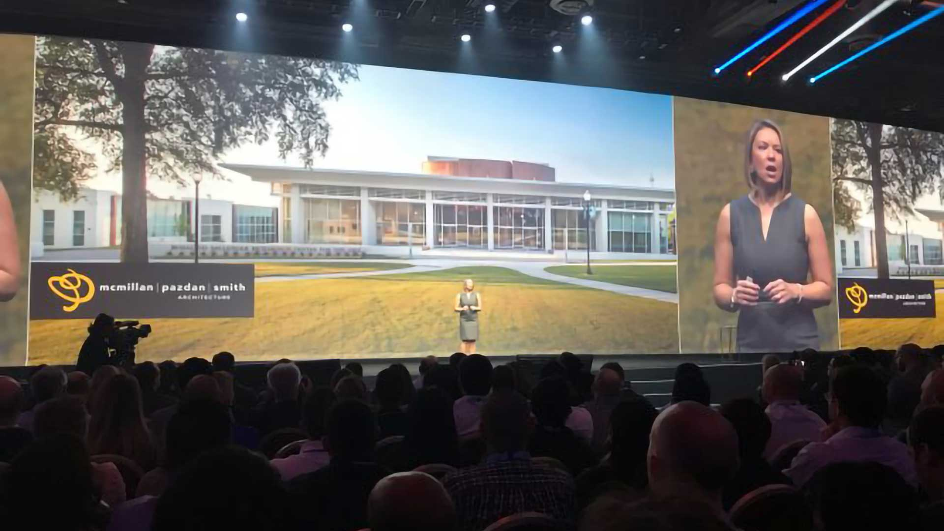 Keynote Speaker onstage at Autodesk University, 2017