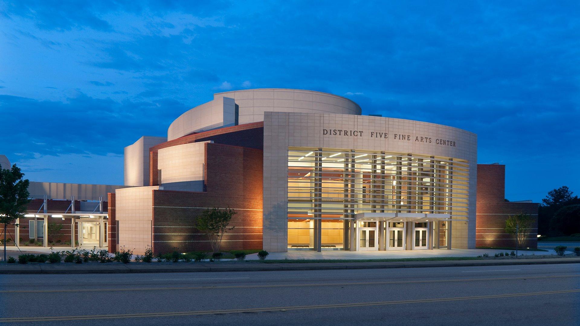 Spartanburg School District Five Fine Arts Center, Exterior at Night