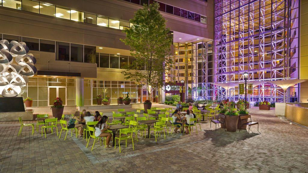 Hyatt Regency Greenville, Courtyard at Night