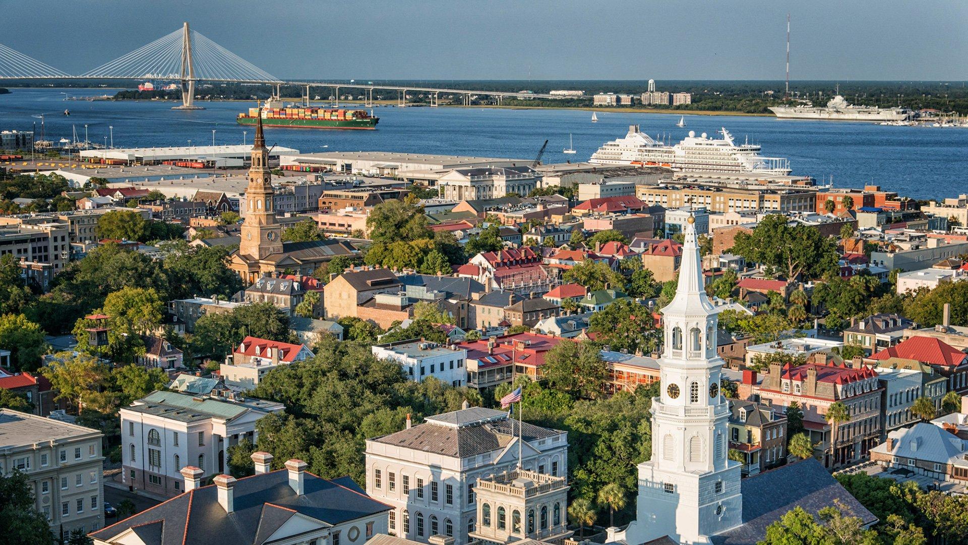 Pictured: Charleston skyline with bridge