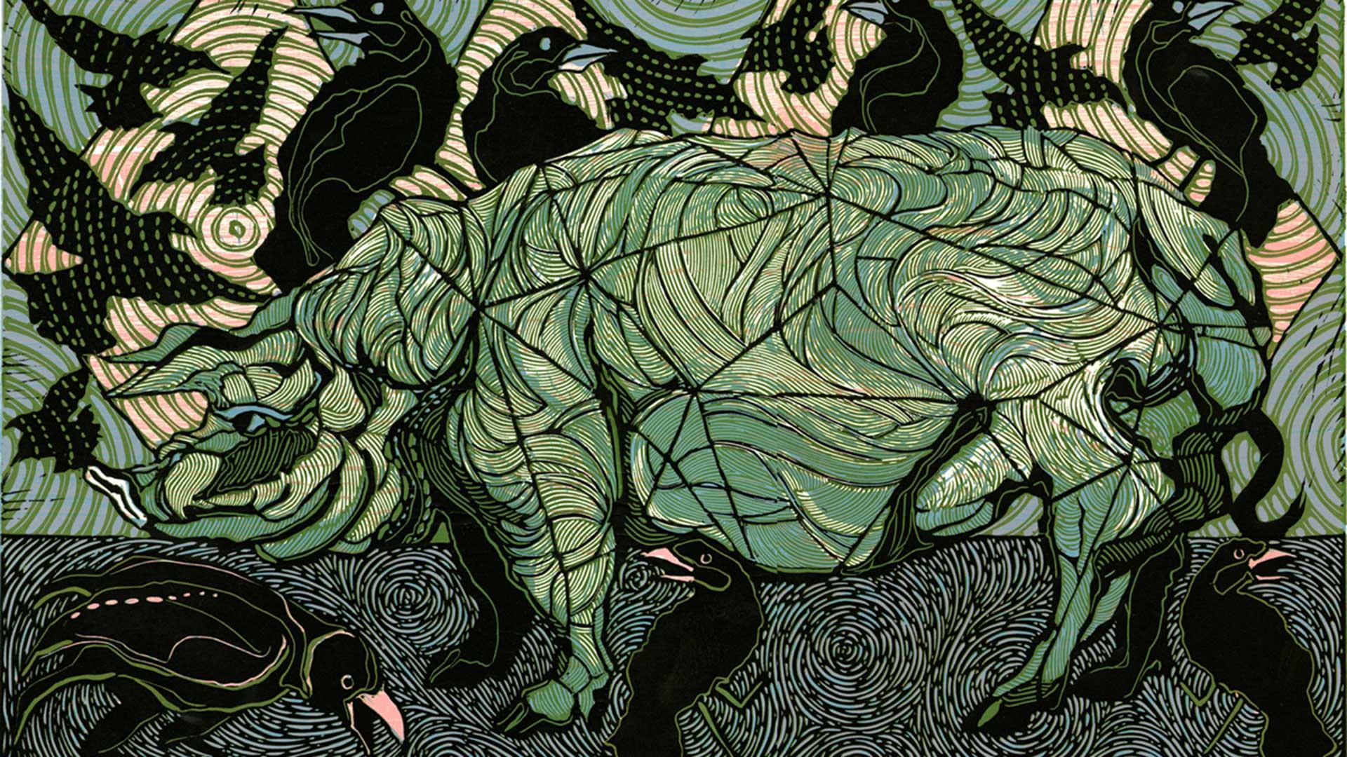 War Machine, Linocut/Woodcut by artist, Dale Clifford