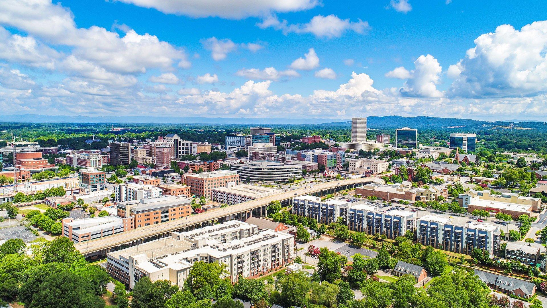 Aerial of Greenville, SC (Adobe Stock photo)
