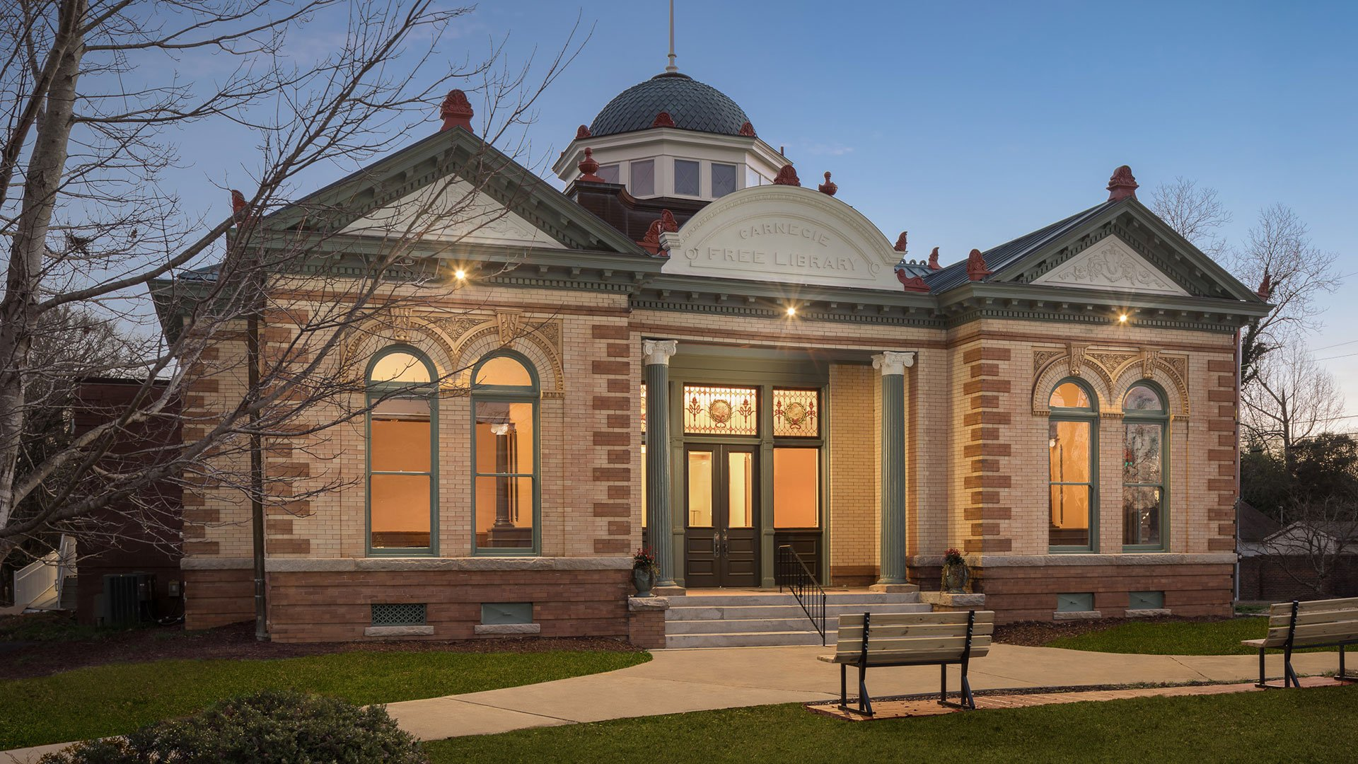 Union County, Carnegie Library, Exterior at Night