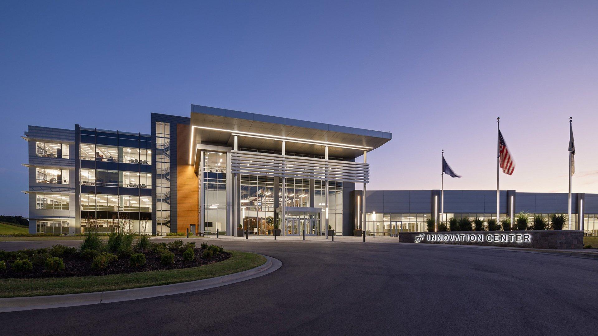 TTI Innovation Center, front exterior at night
