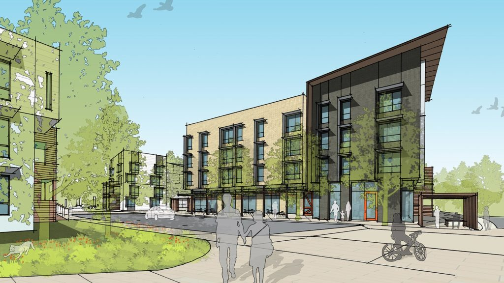Lee Walker Heights (now named Maple Crest) rendering courtesy David Baker Architects