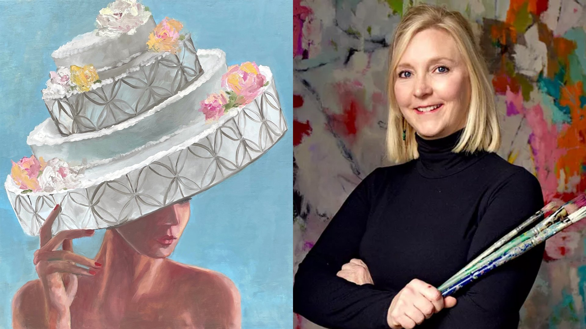 """Pictured: Melissa Anderson and her painting, """"Cake Lady"""""""